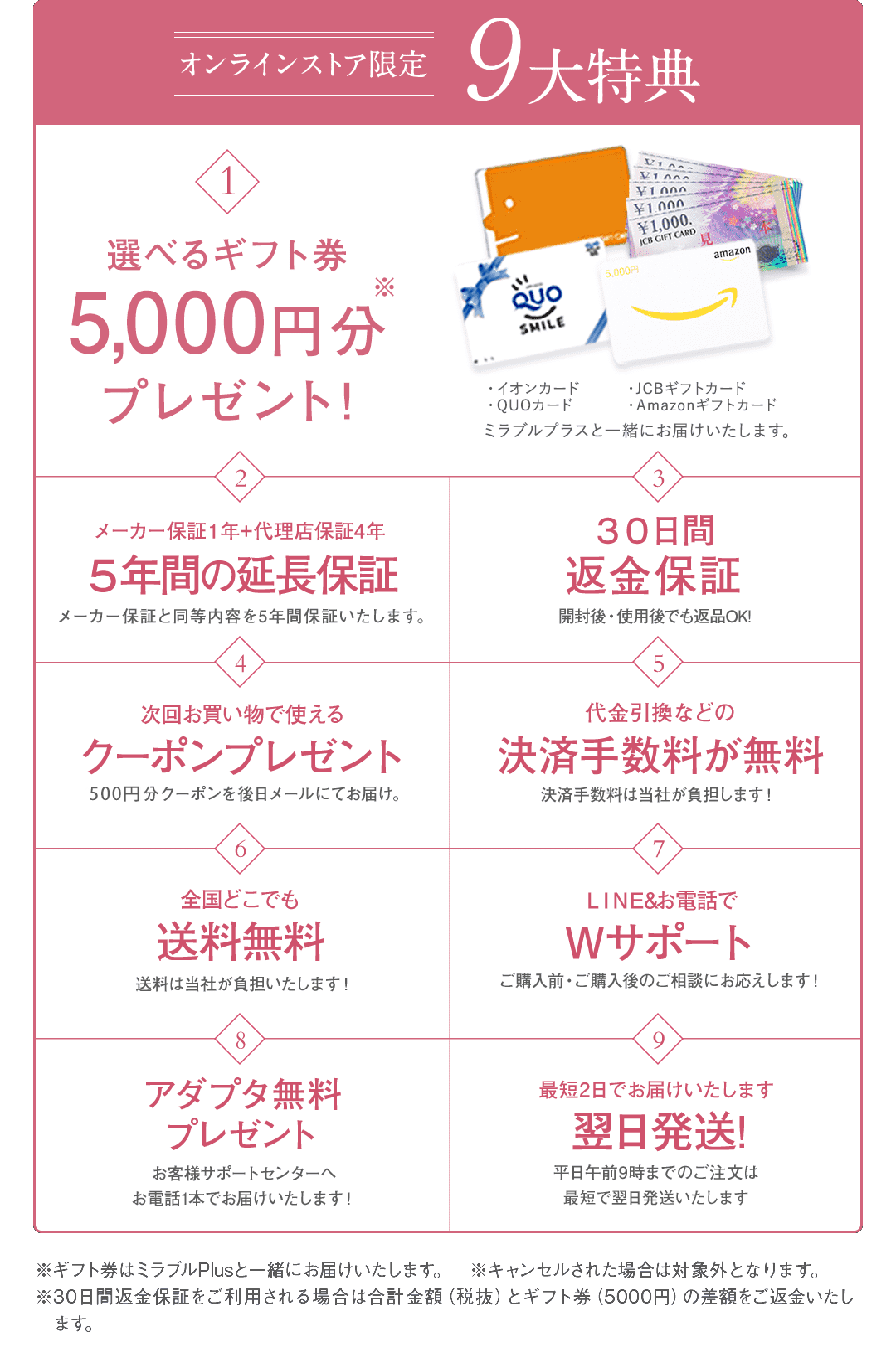 選べるギフト券5000円分など9大特典